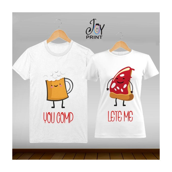 Coppia di t shirt Personalizzate Love Food