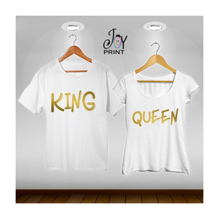 Coppia di t shirt King & queen oro