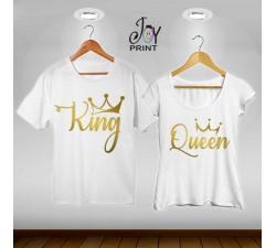 Coppia di t shirt King & queen oro reali