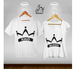 Coppia di t shirt King & queen corona
