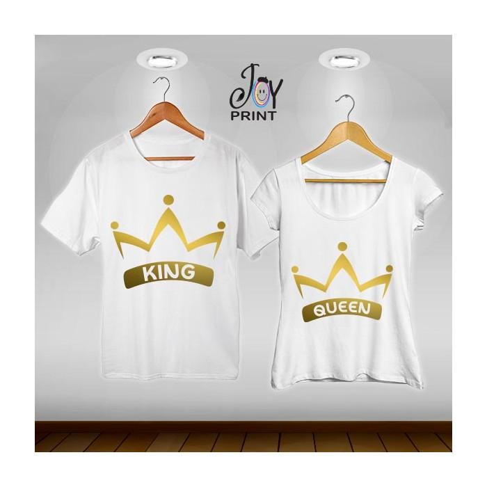 Coppia di t shirt King & queen corona oro