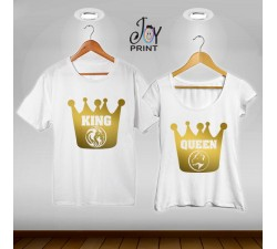 Coppia di t shirt King & queen leoni oro