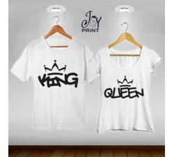 Coppia di t shirt King & queen graffiti