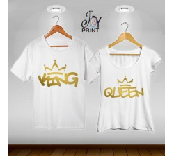 Coppia di t shirt King & queen graffiti oro