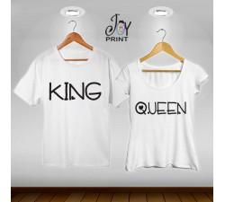 Coppia di t shirt King & queen love