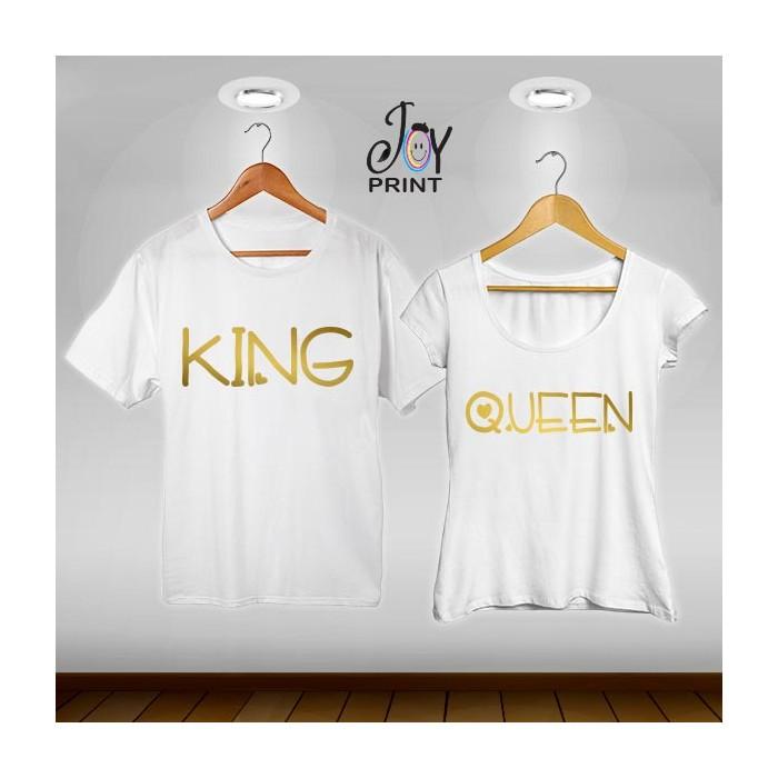 Coppia di t shirt King & queen love oro