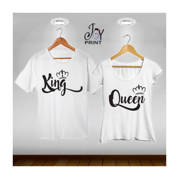 Coppia di t shirt King & queen royalty