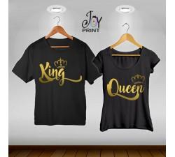 Coppia di t shirt King & queen royalty oro